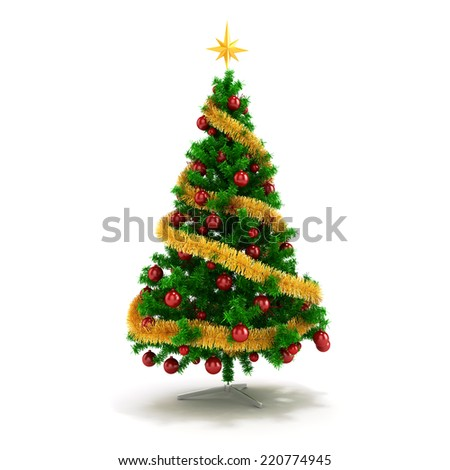 3d beautiful Christmas tree with ornaments on white background - stock photo