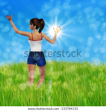 3d beautiful woman on green meadow with raised hands.