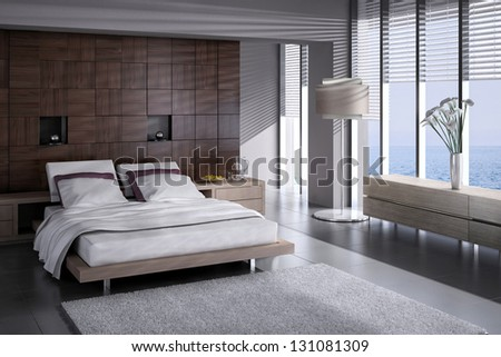 3d bed room interior - stock photo