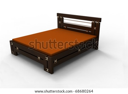 3d  bed wooden on a white background - stock photo
