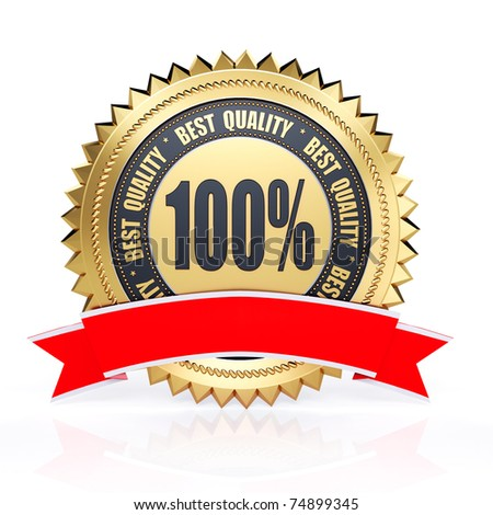 3d best quality gold label with red ribbon isolated on white background - stock photo