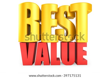 3D best value word on white isolated background - stock photo