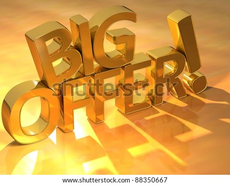 3D Big Offer Text on yellow background - stock photo