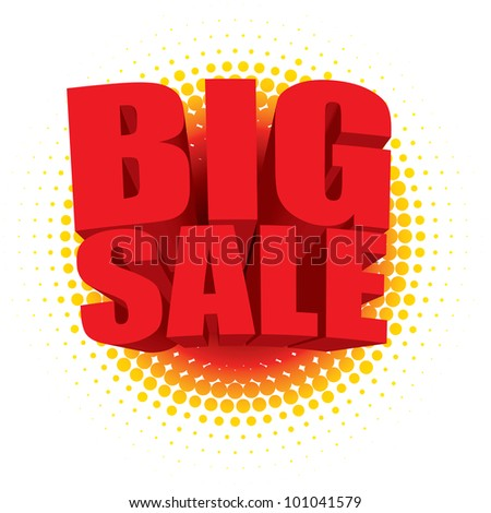3D big sale text bursting out of a radial halftone pattern - stock photo