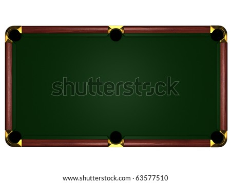 3d billiard table on white background - type overhand - stock photo
