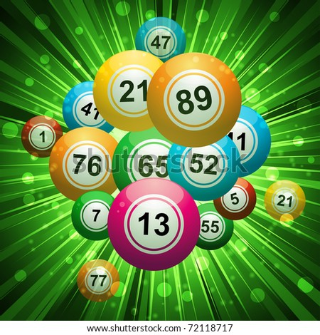 3D bingo balls on a green star burst background