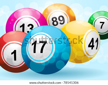 3d bingo balls on a landscape blue background