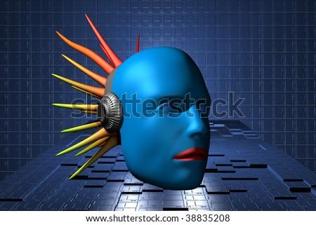 3d bio human head - stock photo