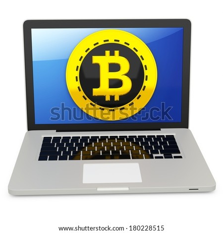 3d bitcoin with laptop computer  on white background - stock photo