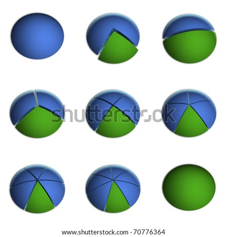 3D Bitmap Illustrations of Business Pie Charts - stock photo