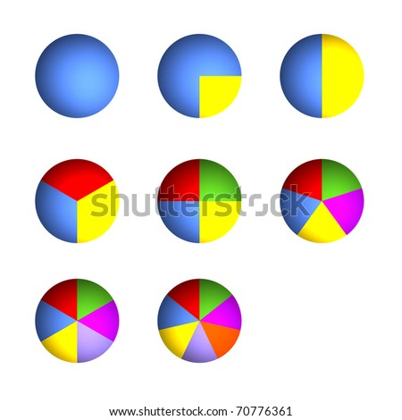 3D Bitmap Illustrations of Business Pie Charts (Jpeg file has clipping path) - stock photo