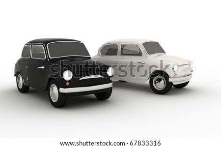 3d black and white car
