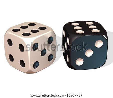 3D black and white dice on a white background