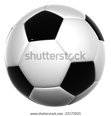 3d black and white leather soccer ball isolated on white background, for sport, recreation or football designs - stock photo