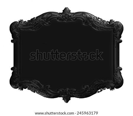 3D black Antique Vintage Frame. Isolated On White For Design.  - stock photo