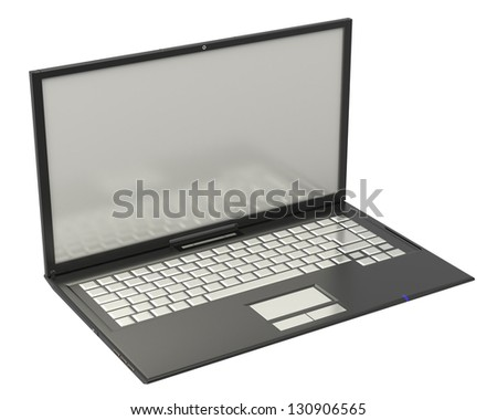 3D black blank notebook isolated on white background - stock photo