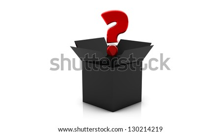 3d Black box with red question mark on white background - stock photo
