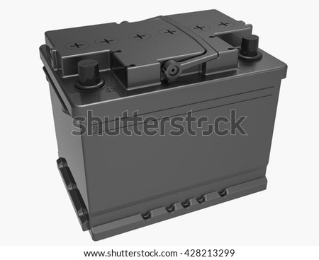 3D black car battery on white