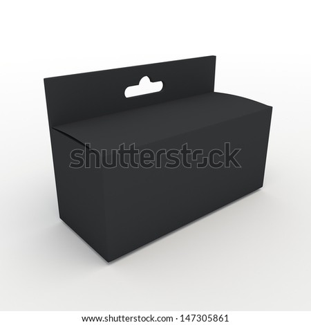 3d black carton packaging hang, suspend, box for products in isolated background with clipping paths, work paths included  - stock photo