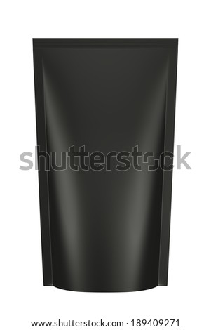 3D black color bag package design, isolated - stock photo