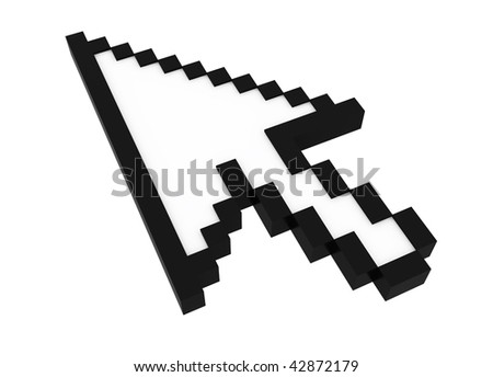 3d black cursor isolated on white background - stock photo
