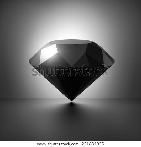 3d black diamond symbol - stock photo