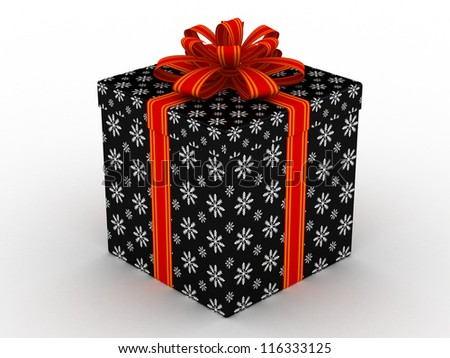 3D black Gift christmas box with red bow on the white - stock photo