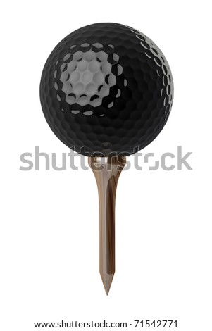 3d Black Golf ball on tee on white background - stock photo