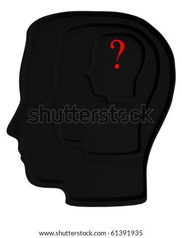 3d black head. Question mark on the center of labyrinth inside the head. Concept of confused mind. - stock photo