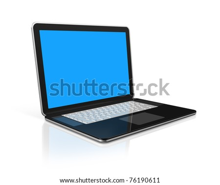 3D black laptop computer isolated on white with 2 clipping path : one for global scene and one for the screen - stock photo