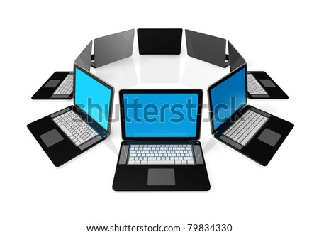 3D black laptop computers isolated on white - stock photo