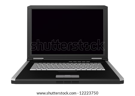 3d black laptop isolated on white background