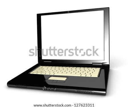 3d black laptop. notebook with a blank screen isolated on white background