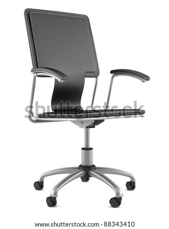 3d black leather office chair isolated on white background - stock photo