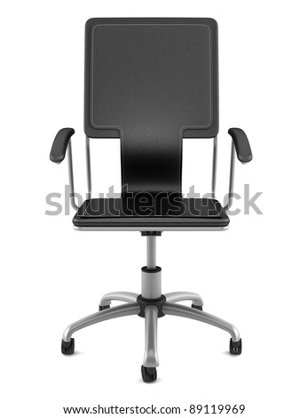 3d black leather office chair isolated on white background