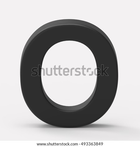 3d black letter O, 3D rendering graphic isolated white background
