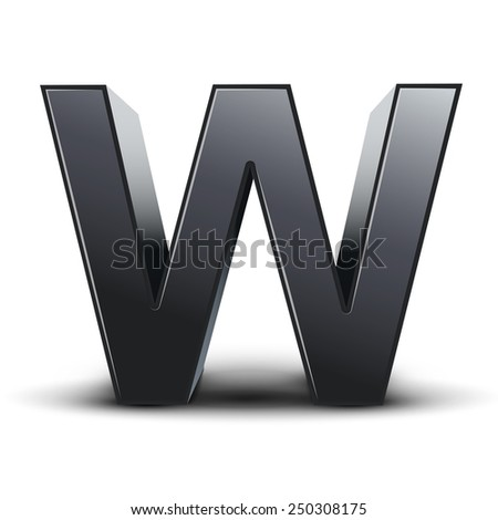 3d black letter W isolated on white background - stock photo
