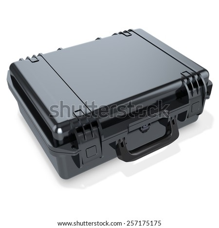 3d black metallic  hard case on white background - stock photo