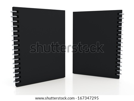 3d black notebook and wires  in isolated background with work paths, clipping paths included  - stock photo