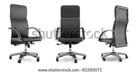 3d black office chair isolated on white background - stock photo