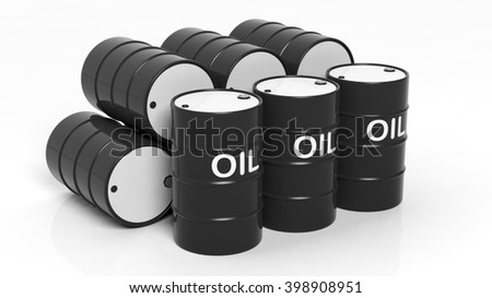 3D black oil drums ,isolated on white background, 3d rendering - stock photo