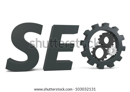 3d black seo Search Engine gears on white background