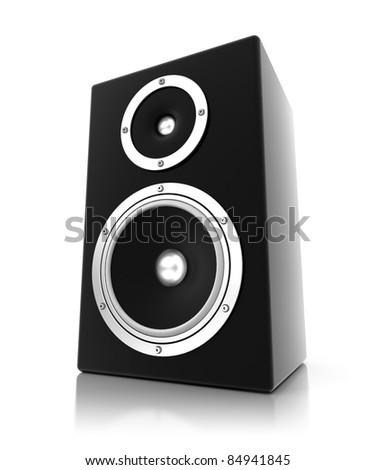 3D black speaker - stock photo