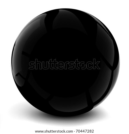 3d black sphere, on white background - stock photo