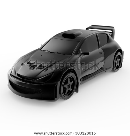 3d black sport car isolated on white background