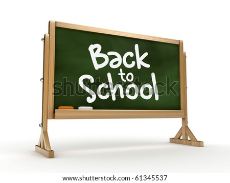 3d blackboard with back to school text