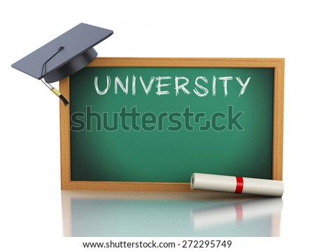 3d blackboard with diploma certificate and graduation cap. Isolated white background. 3d renderer illustration.