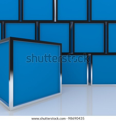 3D blank abstract blue box display new design aluminum frame template for design work, on white background.