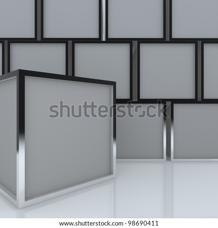 3D blank abstract gray box display new design aluminum frame template for design work, on white background.
