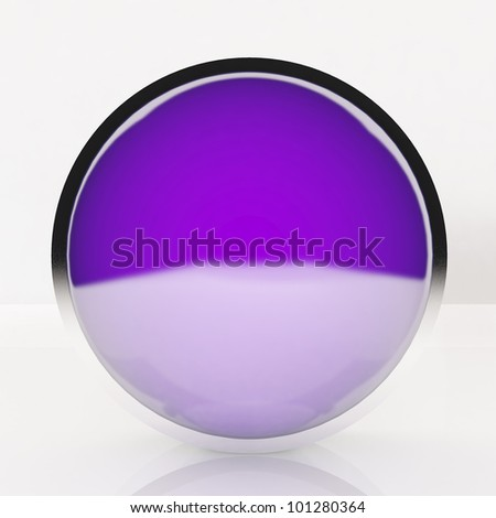 3d blank abstract violet button with white background.